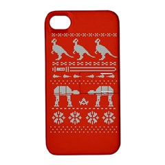 Holiday Party Attire Ugly Christmas Red Background Apple iPhone 4/4S Hardshell Case with Stand