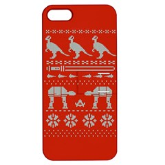 Holiday Party Attire Ugly Christmas Red Background Apple iPhone 5 Hardshell Case with Stand