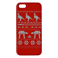 Holiday Party Attire Ugly Christmas Red Background Apple iPhone 5 Premium Hardshell Case