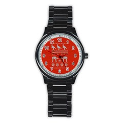 Holiday Party Attire Ugly Christmas Red Background Stainless Steel Round Watch