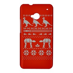 Holiday Party Attire Ugly Christmas Red Background HTC One M7 Hardshell Case