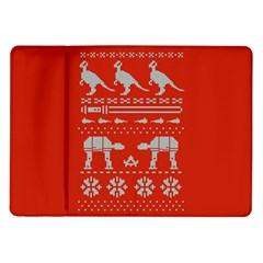 Holiday Party Attire Ugly Christmas Red Background Samsung Galaxy Tab 10.1  P7500 Flip Case