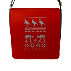 Holiday Party Attire Ugly Christmas Red Background Flap Messenger Bag (L)