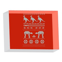 Holiday Party Attire Ugly Christmas Red Background 5 x 7  Acrylic Photo Blocks