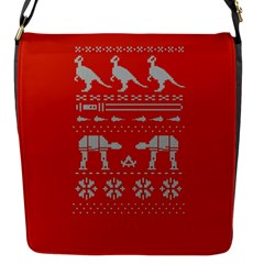 Holiday Party Attire Ugly Christmas Red Background Flap Messenger Bag (S)