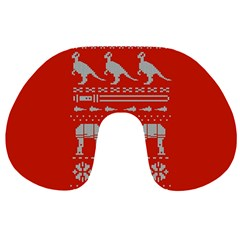 Holiday Party Attire Ugly Christmas Red Background Travel Neck Pillows