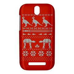 Holiday Party Attire Ugly Christmas Red Background HTC One SV Hardshell Case