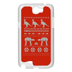Holiday Party Attire Ugly Christmas Red Background Samsung Galaxy Note 2 Case (White)