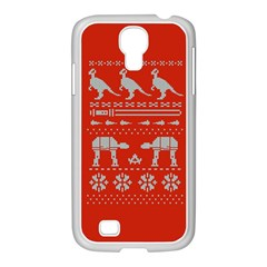 Holiday Party Attire Ugly Christmas Red Background Samsung GALAXY S4 I9500/ I9505 Case (White)