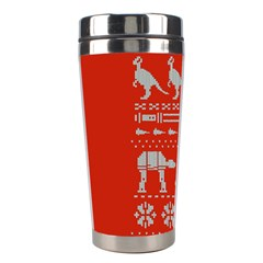 Holiday Party Attire Ugly Christmas Red Background Stainless Steel Travel Tumblers