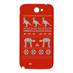 Holiday Party Attire Ugly Christmas Red Background Samsung Note 2 N7100 Hardshell Back Case