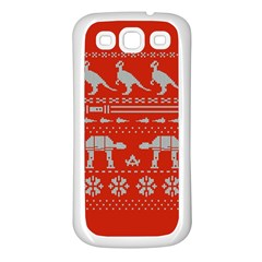 Holiday Party Attire Ugly Christmas Red Background Samsung Galaxy S3 Back Case (White)