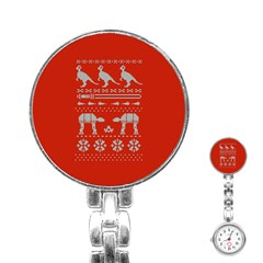 Holiday Party Attire Ugly Christmas Red Background Stainless Steel Nurses Watch