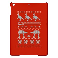 Holiday Party Attire Ugly Christmas Red Background iPad Air Hardshell Cases