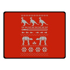 Holiday Party Attire Ugly Christmas Red Background Double Sided Fleece Blanket (Small)