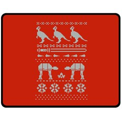Holiday Party Attire Ugly Christmas Red Background Double Sided Fleece Blanket (medium)