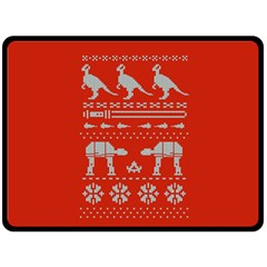 Holiday Party Attire Ugly Christmas Red Background Double Sided Fleece Blanket (Large)