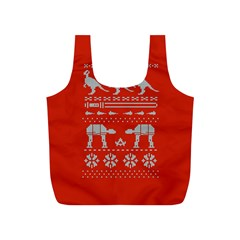 Holiday Party Attire Ugly Christmas Red Background Full Print Recycle Bags (S)