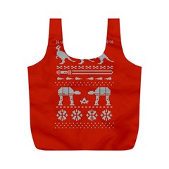 Holiday Party Attire Ugly Christmas Red Background Full Print Recycle Bags (M)