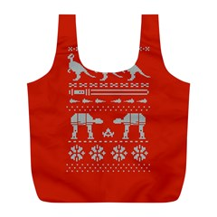 Holiday Party Attire Ugly Christmas Red Background Full Print Recycle Bags (L)