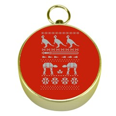 Holiday Party Attire Ugly Christmas Red Background Gold Compasses