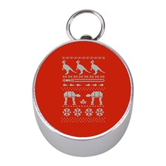 Holiday Party Attire Ugly Christmas Red Background Mini Silver Compasses