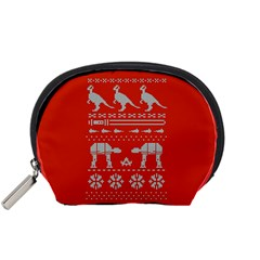 Holiday Party Attire Ugly Christmas Red Background Accessory Pouches (Small)