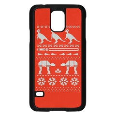 Holiday Party Attire Ugly Christmas Red Background Samsung Galaxy S5 Case (Black)
