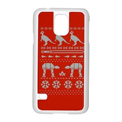Holiday Party Attire Ugly Christmas Red Background Samsung Galaxy S5 Case (White)