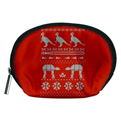 Holiday Party Attire Ugly Christmas Red Background Accessory Pouches (Medium)