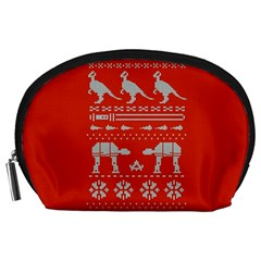 Holiday Party Attire Ugly Christmas Red Background Accessory Pouches (Large)