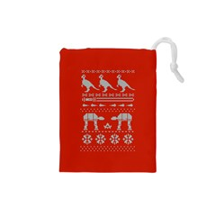 Holiday Party Attire Ugly Christmas Red Background Drawstring Pouches (Small)