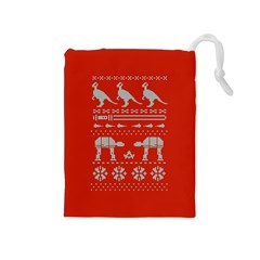Holiday Party Attire Ugly Christmas Red Background Drawstring Pouches (medium)