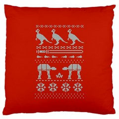 Holiday Party Attire Ugly Christmas Red Background Large Flano Cushion Case (One Side)