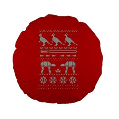 Holiday Party Attire Ugly Christmas Red Background Standard 15  Premium Flano Round Cushions