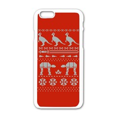 Holiday Party Attire Ugly Christmas Red Background Apple iPhone 6/6S White Enamel Case