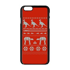 Holiday Party Attire Ugly Christmas Red Background Apple iPhone 6/6S Black Enamel Case