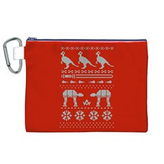 Holiday Party Attire Ugly Christmas Red Background Canvas Cosmetic Bag (XL)
