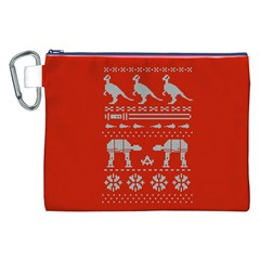 Holiday Party Attire Ugly Christmas Red Background Canvas Cosmetic Bag (XXL)