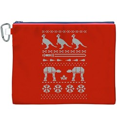 Holiday Party Attire Ugly Christmas Red Background Canvas Cosmetic Bag (XXXL)