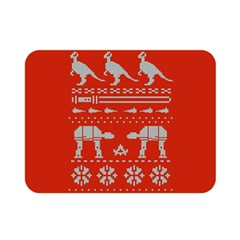 Holiday Party Attire Ugly Christmas Red Background Double Sided Flano Blanket (Mini)