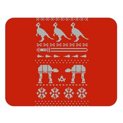 Holiday Party Attire Ugly Christmas Red Background Double Sided Flano Blanket (Large)