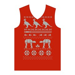 Holiday Party Attire Ugly Christmas Red Background Men s Basketball Tank Top