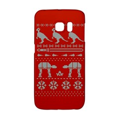 Holiday Party Attire Ugly Christmas Red Background Galaxy S6 Edge