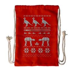 Holiday Party Attire Ugly Christmas Red Background Drawstring Bag (Large)