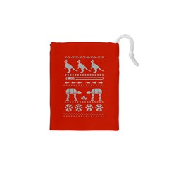Holiday Party Attire Ugly Christmas Red Background Drawstring Pouches (XS)