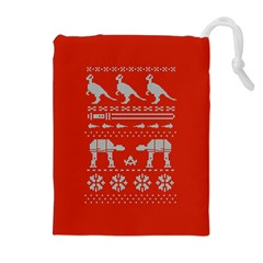 Holiday Party Attire Ugly Christmas Red Background Drawstring Pouches (Extra Large)