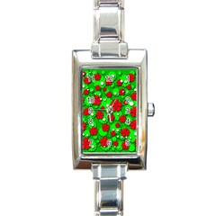 Xmas flowers Rectangle Italian Charm Watch