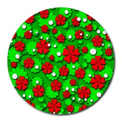 Xmas flowers Round Mousepads
