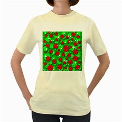 Xmas flowers Women s Yellow T-Shirt